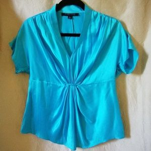 Anne Klein turquoise silk blouse size 6